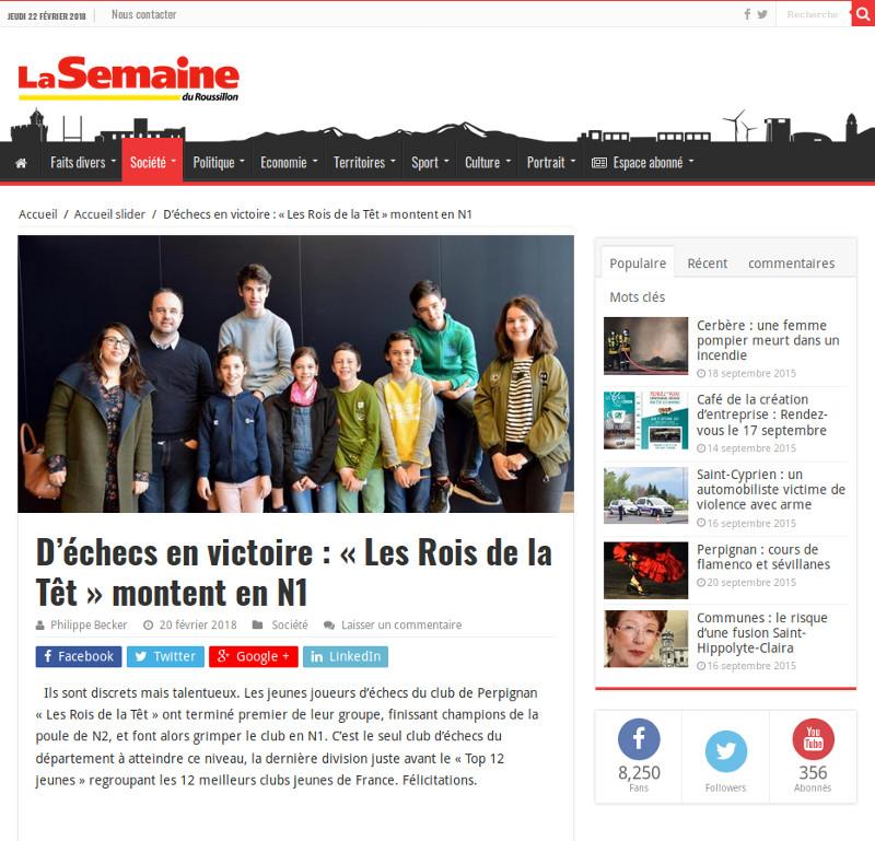 La Semaine du Roussillon salue la montée en N1 !